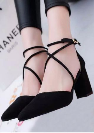 Solid Buckle Strap Pointed Toe Heels