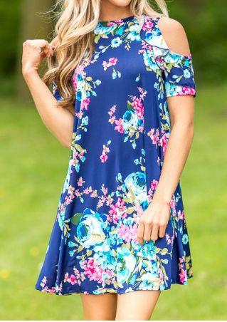 Floral Cold Shoulder Pocket Flouncing Mini Dress