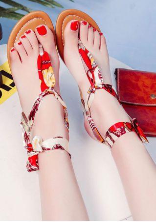 Summer Printed Flat Tie Sandals