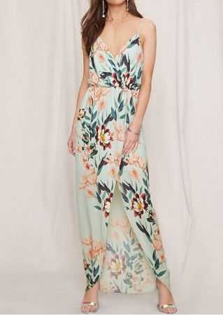 Floral Spaghetti Strap Slit Maxi Dress without Necklace