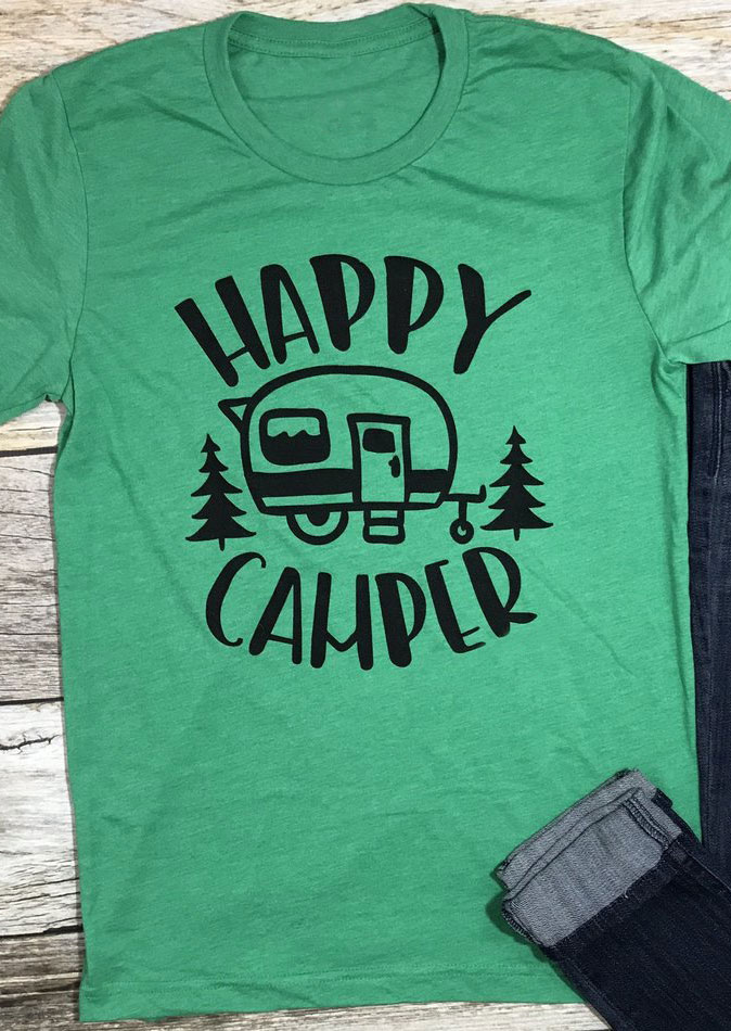 1045a892f5578 Happy Camper Short Sleeve T-Shirt - Bellelily