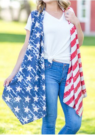 American Flag Printed Star Cardigan without Necklace