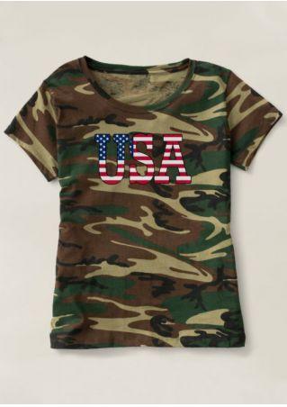 USA Camouflage Printed T-Shirt