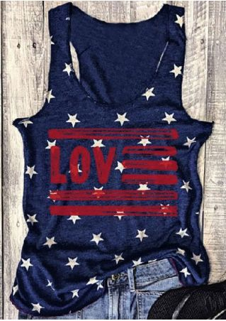 Love Star O-Neck Sleeveless Tank