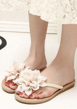 Solid Flower Flip Flops