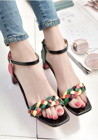 Summer Braid Ankle Strap Heeled Sandals