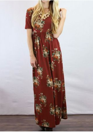 Floral Short Sleeve Maxi Dress without Necklace