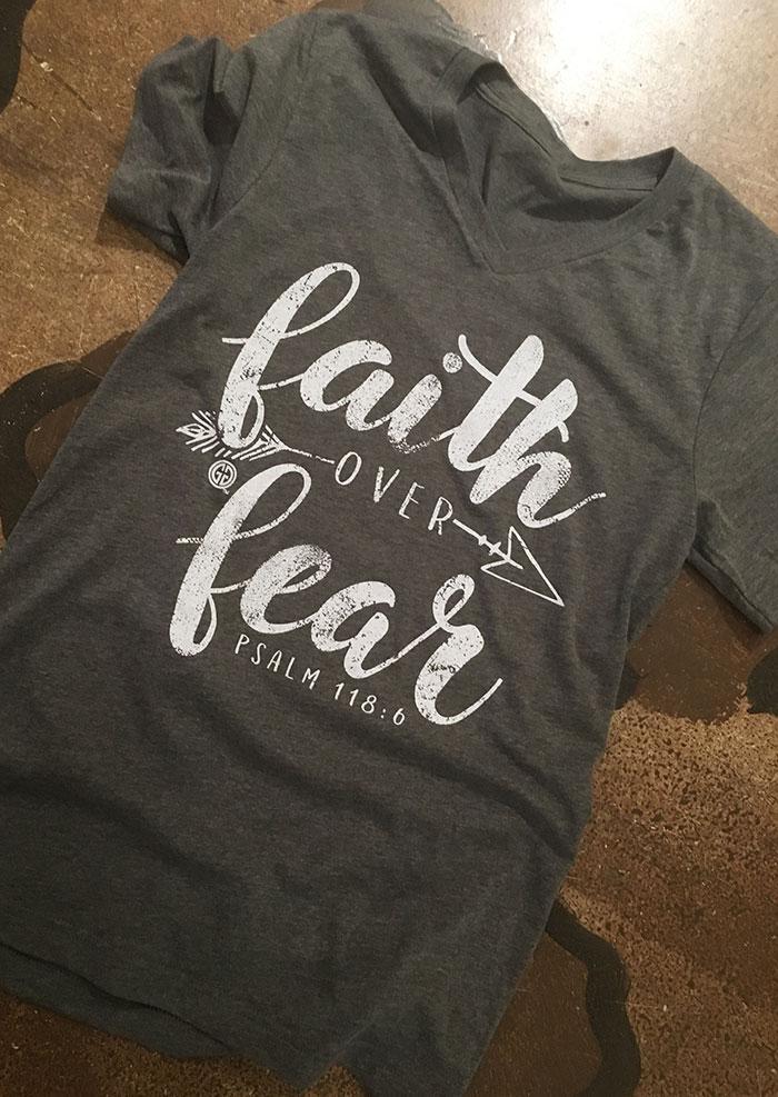Faith Over Fear Arrow V-Neck T-Shirt