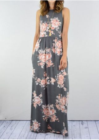 Floral Pocket Sleeveless Maxi Dress without Neckless