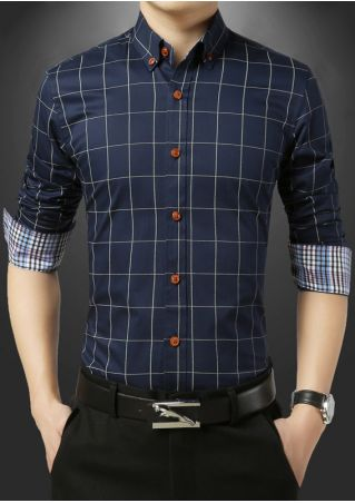 Plaid Button Turn-Down Collar Shirt
