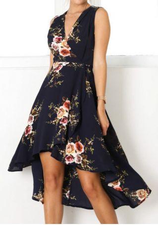 Floral Asymmetric Sleeveless Dress without Necklace