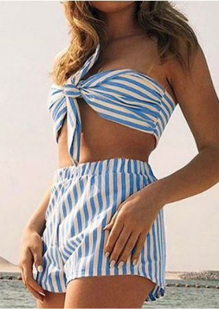Striped Off Shoulder Crop Top and Shorts Set