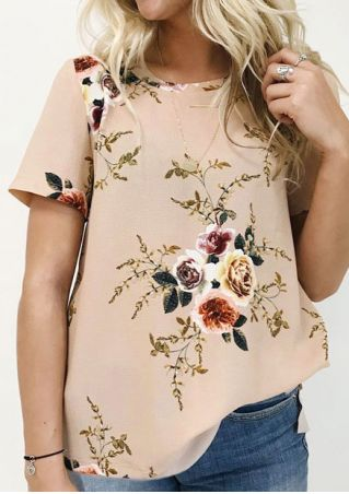 Floral O-Neck Short Sleeve Blouse without Necklace