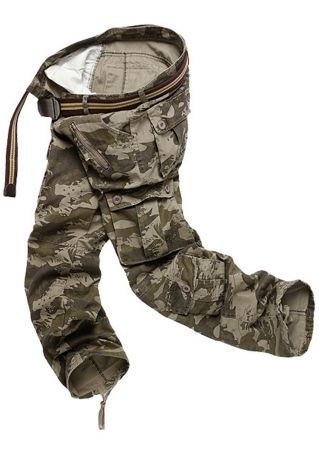 Camouflage Printed Pocket Pants without Belt