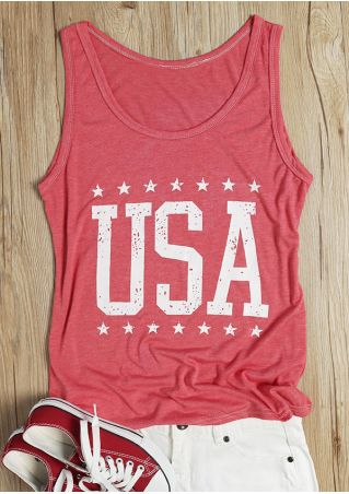 USA Star O-Neck Sleeveless Tank