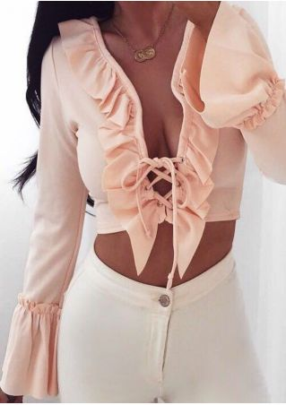 Solid Lace Up Ruffled Crop Top without Necklace