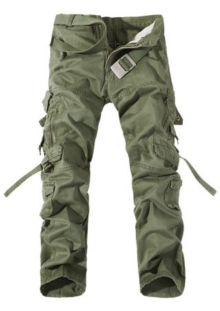 Solid Pocket Zipper Pants without Belt