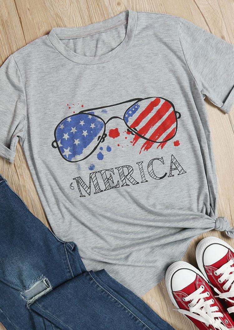 'Merica American Flag Glasses T-Shirt