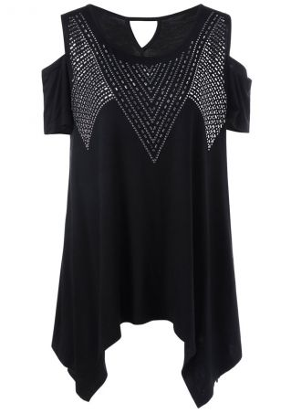 Rivet Cold Shoulder Asymmetric Blouse