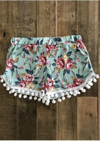 Floral Pompon Elastic Waist Shorts