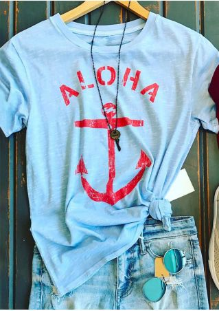 Aloha Anchor O-Neck Short Sleeve T-Shirt