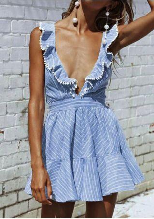 Striped Flouncing Deep V-Neck Mini Dress
