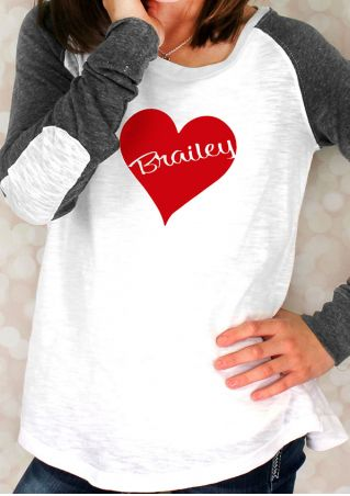 Brailey Heart Elbow Patch Baseball T-Shirt without Necklace