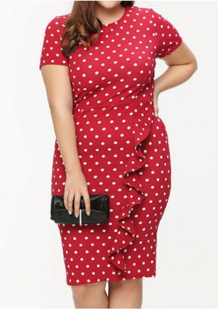 Polka Dot Flouncing Bodycon Dress