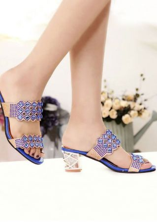 Imitated Crystal Heeled Sandals