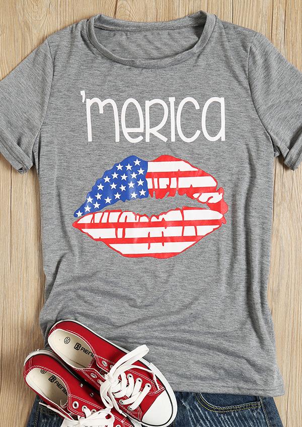 'Merica American Flag Printed Lips T-Shirt