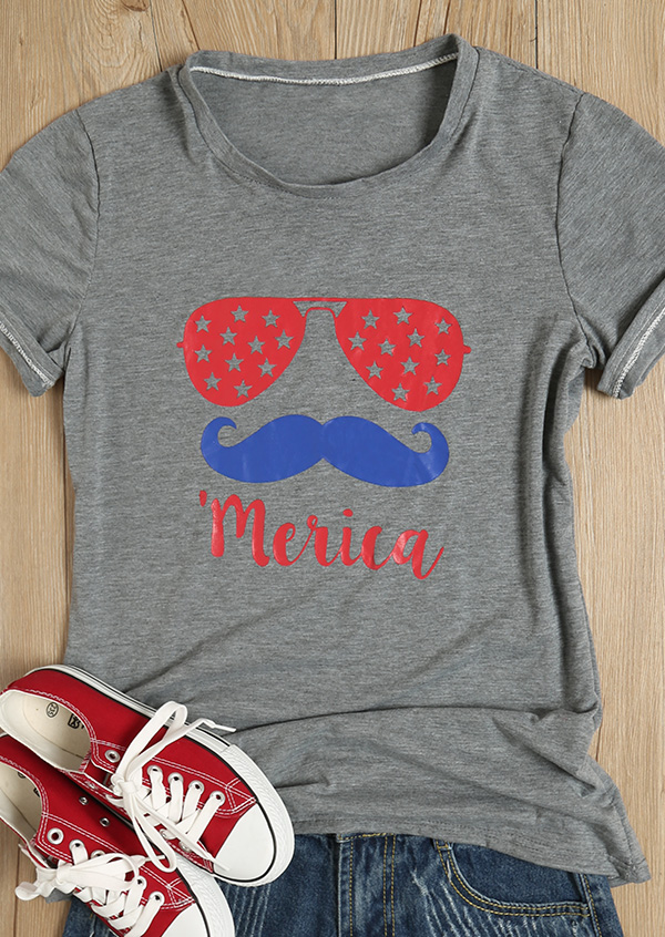 'Merica Glasses Beard O-Neck T-Shirt