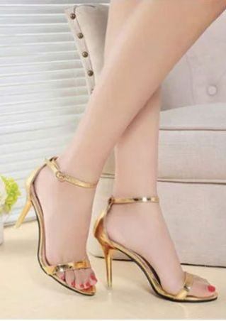 Solid Summer Ankle Strap Heeled Sandals