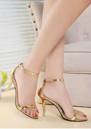 Solid Summer Ankle Strap Heeled Sandals