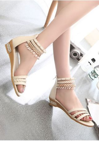 Beading Braid Zipper Flat Sandals