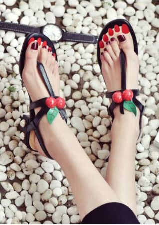 Cherry Buckle Strap Heeled Sandals