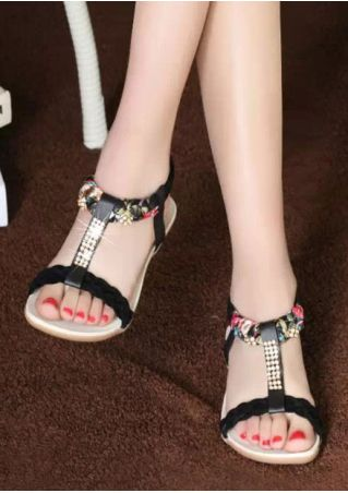 Imitated Crystal Elastic Band Flat Sandals