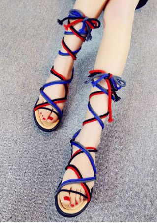 Cross Lace Up Flat Sandals