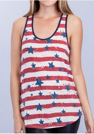 Striped Star Bowknot O-Neck Tank