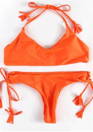 Solid Tassel Tie Halter Bikini Set