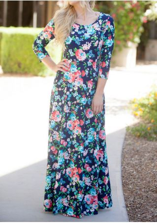 Floral O-Neck Three Quarter Sleeve Maxi Dress