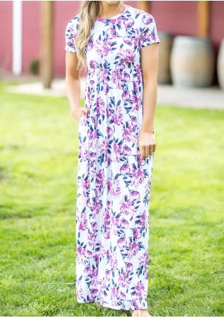 Floral Pocket O-Neck Maxi Dress