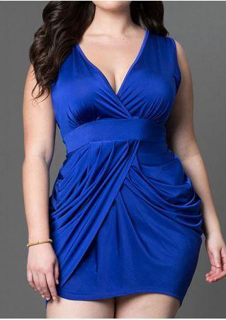 Solid Deep V-Neck Sleeveless Mini Dress