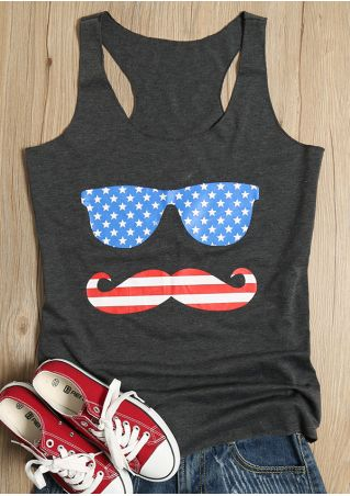 American Flag Printed Glasses Beard Tank
