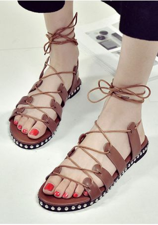 Cross Ankle-Wrap Rivet Flat Sandals
