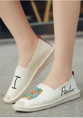 Printed Round Toe Slip-On Flats
