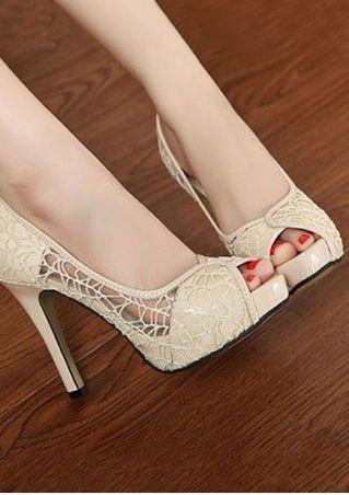 Solid Peep Toe Heeled Sandals