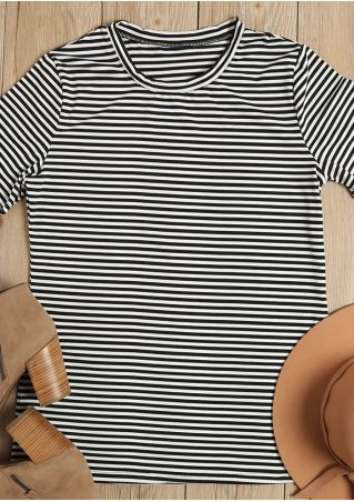 Striped O-Neck Short Sleeve T-Shirt