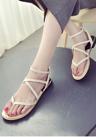 Cross-Strap Buckle Flat Sandals