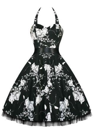 Floral Polka Dot Mesh Splicing Halter Mini Dress with Belt