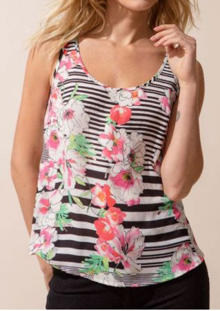 Floral Striped O-Neck Tank